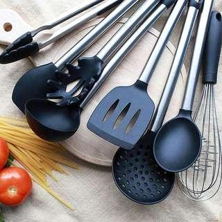 8 Piece Silicone Cooking Utensil Set   Stainless Steel Kitchen Utensils