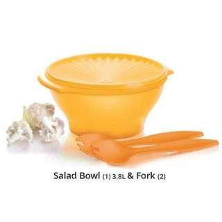 tupperware salad bowl (3.8l) with forks