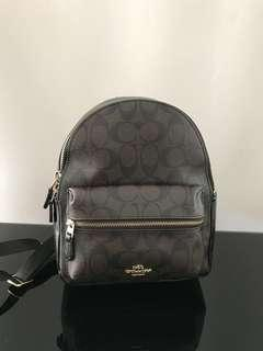 Preloved coach original backpack medium charlie signature Mahogany