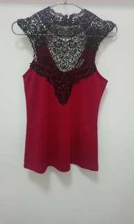 Love bonito Red Lace Sleeveless Top