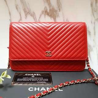 SELLING: CHANEL Red Caviar Classic CHEVRON WOC in Caviar with SILVER Hardware