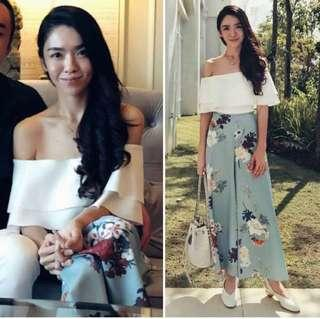 Doublewoot CNY Light Blue Silk Flowy Pants / Culottes with Floral Pants #CNYRED
