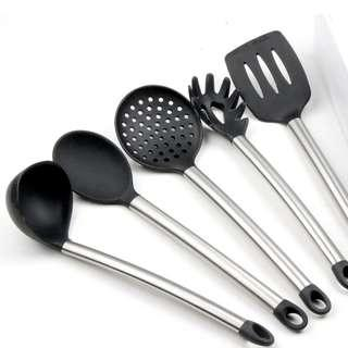 5 Pieces Stainless Steel Kitchen Utensils Silicone Cooking Utensil Set