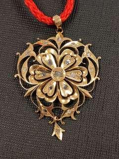 Vintage Straits Chinese Peranakan Nyonya 18K gold intan pendant