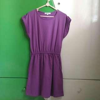 Details Purple Dress Kaos Panjang