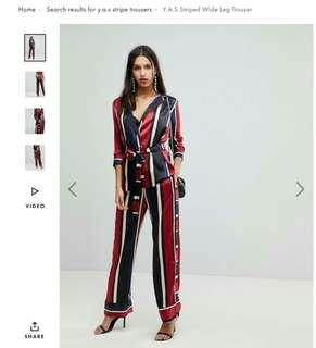 Y.A.S set stripe blazer and wide leg trousers