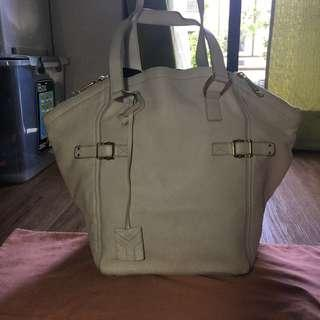 Yves Saint Laurent Downtown Off White Leather Tote
