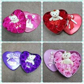 Aromatic Unfading Soap Flower Party Bath Gift Lover Anniversary Fine Petal Rose & Bear With 4 Colour