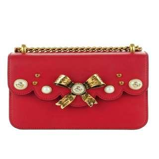 Gucci Red Bow Pearl Leather Chain Bag