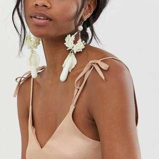 ASOS DESIGN Statement Wedding Floral Drop Earrings in Off White Resin