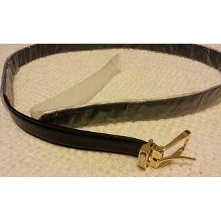 GENUINE LEATHER BELT WITH GOLDEN PLATED BUCKLE, FITS ANY SIZE