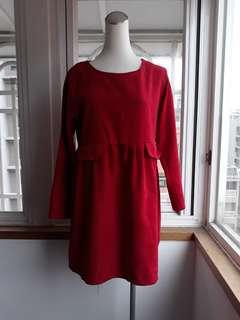 🚚 棗紅寬鬆連身裙