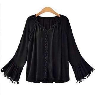 🚚 FLARE TASSEL BLOUSE WITH LONG SLEEVE