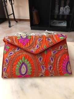 Valentine's Sales. Brand new embroidery clutch bag. Trendy n fashionable.