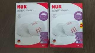 All for $50 全新 Nuk 母乳護墊 ultra dry comfort 1盒 + 已開盒 共110片 nursing pads not pigeon 防溢奶