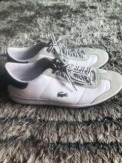 Lacoste White/Gray Leather Sneakers