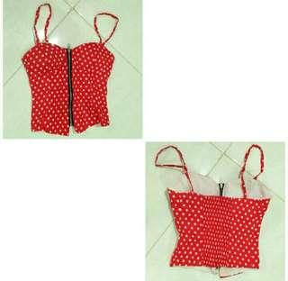 Crop top red polka