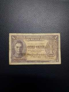 Board Of Commissioners of Currency Malaya 1 Cent 1941