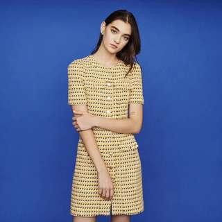 Maje yellow tweed dress