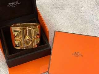 Hermes CDC silver bangle with gold plated.