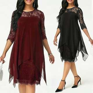 🚚 Plus Size Chiffon Dresses Women New Fashion Chiffon Overlay Three Quarter Sleeve Stitching Irregular Hem Lace Dress