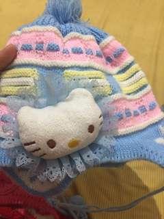 Topi rajut import kitty blue