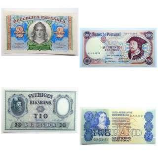 Nice colourful banknotes ! Spain, Portugal, Sweden & South Africa ~ Unc/Aunc !