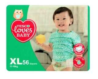 🚚 Tesco loves baby diapers XL 56pcs 11-16kg