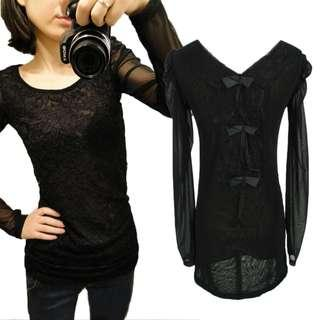 Black See Through shirt 黑色 長袖 蕾絲 女上衣 衫 Ladies Party Lace Crochet Blouse Top Size S 3179#