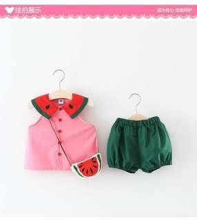 Cute watermelon girl set blouse with short pant