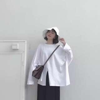 🚚 純色寬鬆開衩上衣+開衩裙 套裝不拆賣