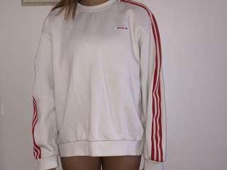 adidas white red stripe jumper