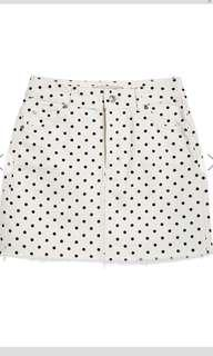 Petite Polka Dot Denim Skirt