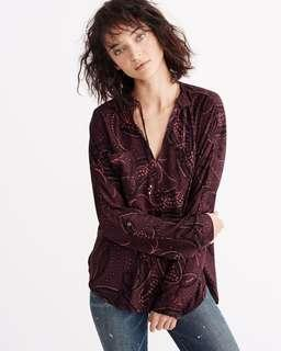 🚚 Abercrombie&fitch a&f 酒紅色變形蟲雪紡長袖綁帶上衣