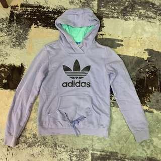 🚚 Adidas 愛迪達粉紫色果綠帽子連帽長袖綁帶上衣hoodie