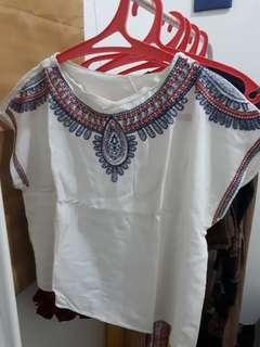 (100 DAPET 3) White Tribal Tshirt