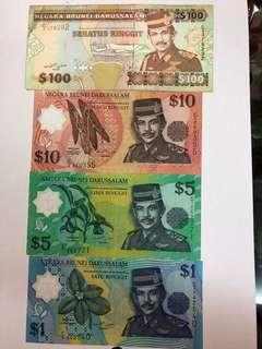Old Brunei Notes 1996 $1,$5,$10 & $100