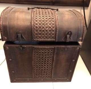 Vintage Wooden Chest / Treasure Box/ Storage Box with Handle