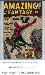EXTREMELY ICONIC COVER OF SPIDER-MAN. FIRST EDITION SOLD FOR USD$450,000!