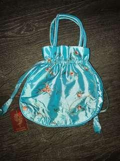 🚚 Turquoise embroidery drawstring pouch bag