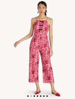 🚚 hot pink oriental modern qipao floral jumpsuit