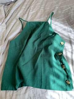 TEM Green Top with Side Buttons