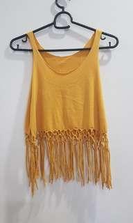 Mustard Yellow Fringe Crop Top #MFeb20