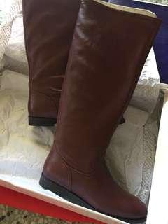Andre cognac leather boots