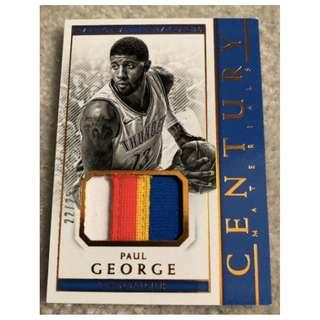 🚚 Paul George 2017-18 NBA Panini National Treasures Century Materials Jersey Patch Card #22/25