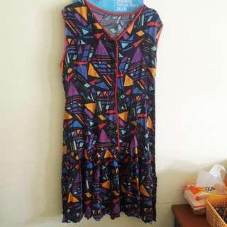 Preloved Midi Dress Big Size Fit Muat Sampe XL Bahan Satin Halus Tebal