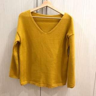 芥末黃 針織上衣 針織毛衣