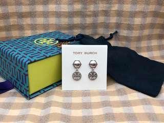 Tory Burch Hexagonal Silver Logo Drop Earrings