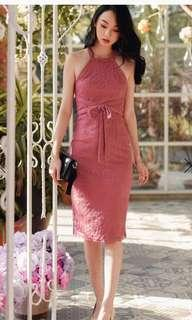 Fashmob Collins Tie Lace Midi Dress in Rose