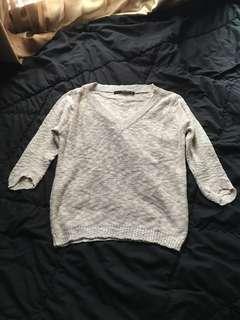 ZARA Beige V-neck Sweater